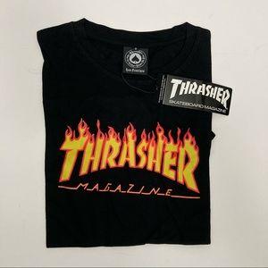 Thrasher Logo Black TShirt Streetwear Flame